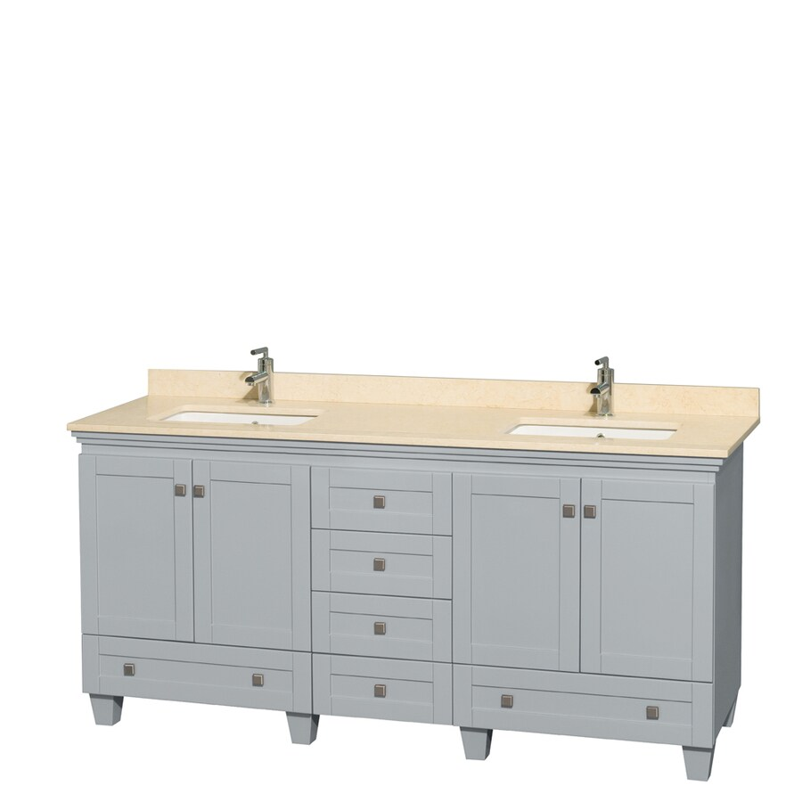 Wyndham Collection Acclaim Oyster Gray Undermount Double Sink Bathroom Vanity with Natural Marble Top (Common: 72-in x 22-in; Actual: 72-in x 22-in)
