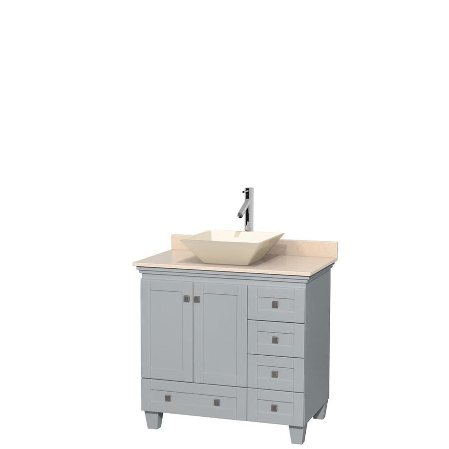 Wyndham Collection Acclaim Oyster Gray (Common: 36-in x 22-in) Vessel Single Sink Oak Bathroom Vanity with Natural Marble Top (Actual: 36-in x 22-in)
