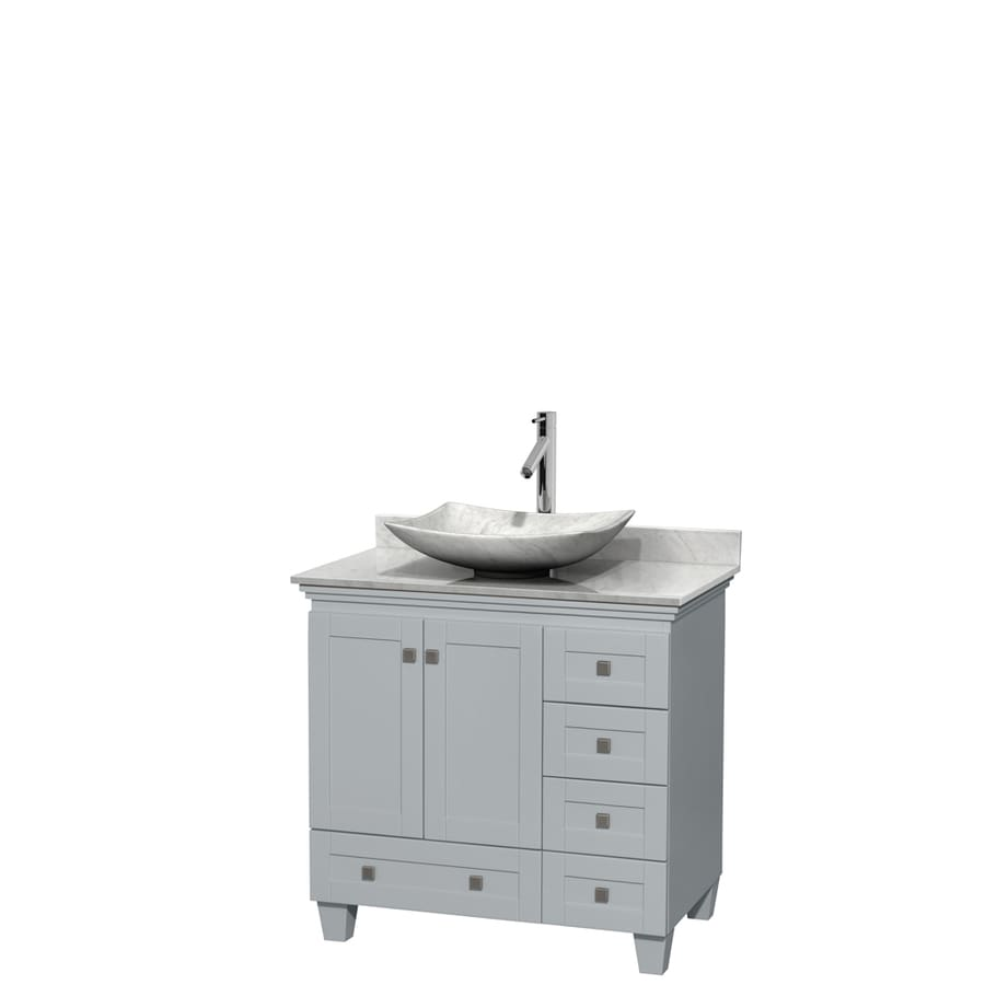 Wyndham Collection Acclaim Oyster Gray 36-in Vessel Single Sink Oak Bathroom Vanity with Natural Marble Top