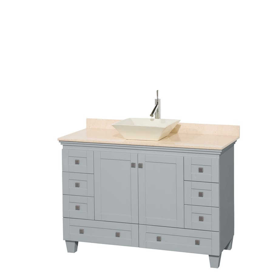 Wyndham Collection Acclaim Oyster Gray 48-in Vessel Single Sink Oak Bathroom Vanity with Natural Marble Top