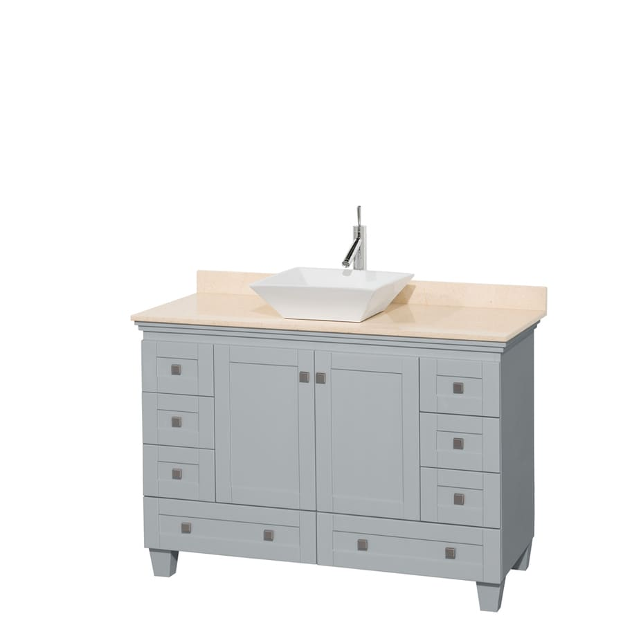 Wyndham Collection Acclaim Oyster Gray (Common: 48-in x 22-in) Vessel Single Sink Oak Bathroom Vanity with Natural Marble Top (Actual: 48-in x 22-in)