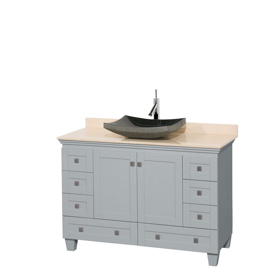 48 in vessel single sink oak bathroom vanity with natural marble top