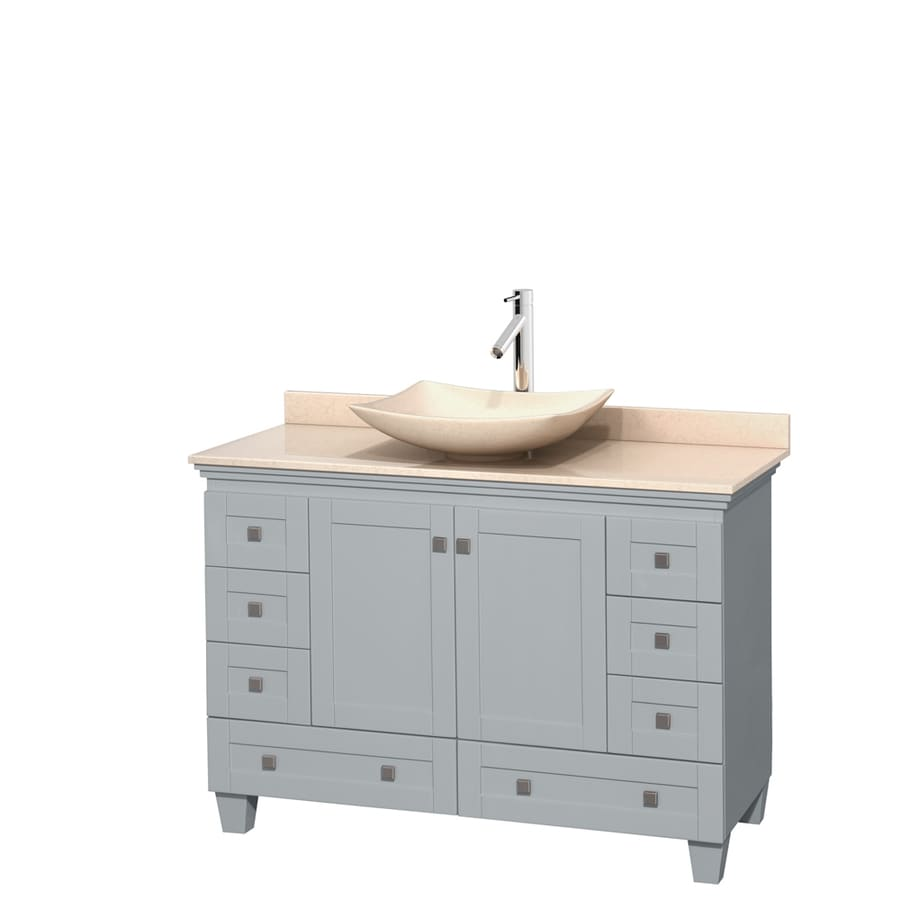 Wyndham Collection Acclaim Oyster Gray Single Vessel Sink Bathroom Vanity With Natural Marble Top Common