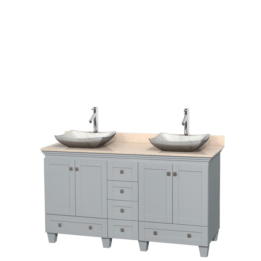 Wyndham Collection Acclaim Oyster Gray (Common: 60-in x 22-in) Vessel Double Sink Oak Bathroom Vanity with Natural Marble Top (Actual: 60-in x 22-in)