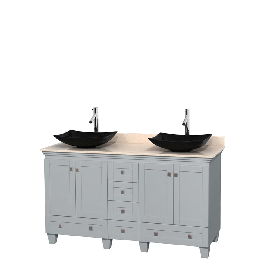 Wyndham Collection Acclaim Oyster Gray Double Vessel Sink Bathroom Vanity with Natural Marble Top (Common: 60-in x 22-in; Actual: 60-in x 22-in)
