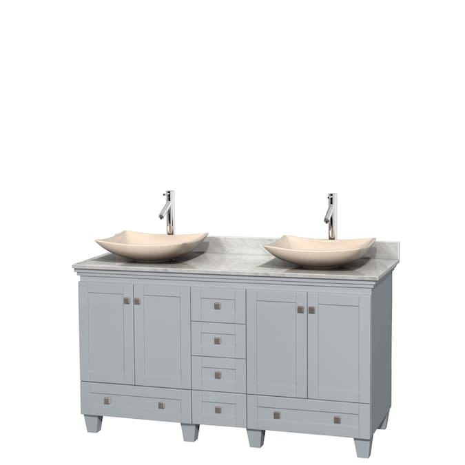 Wyndham Collection Acclaim Oyster Gray Double Vessel Sink Bathroom Vanity With Natural Marble Top Common 60 In X 22 In Actual 60 In X 22 In In The Bathroom Vanities With Tops Department At Lowes Com