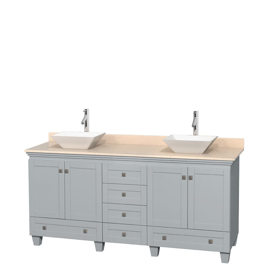 Wyndham Collection Acclaim Oyster Gray 72-in Vessel Double Sink Oak Bathroom Vanity with Natural Marble Top