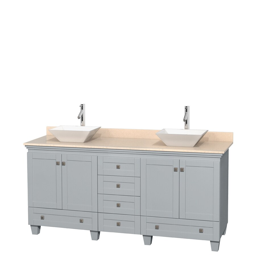 Wyndham Collection Acclaim Oyster Gray Double Vessel Sink Bathroom Vanity with Natural Marble Top (Common: 72-in x 22-in; Actual: 72-in x 22-in)