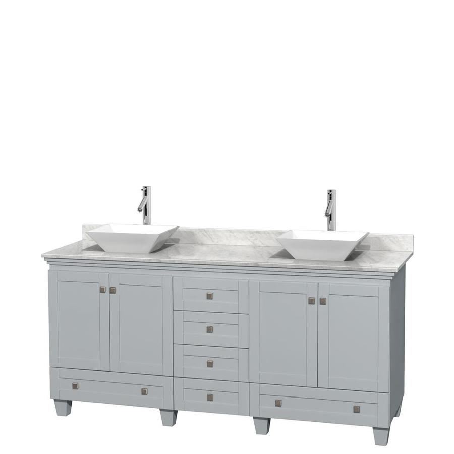 Wyndham Collection Acclaim Oyster Gray (Common: 72-in x 22-in) Vessel Double Sink Oak Bathroom Vanity with Natural Marble Top (Actual: 72-in x 22-in)