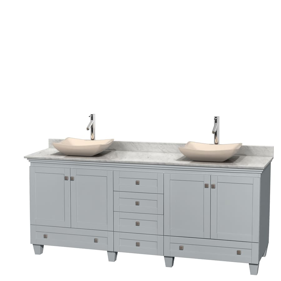 Wyndham Collection Acclaim Oyster Gray 80-in Vessel Double Sink Oak Bathroom Vanity with Natural Marble Top