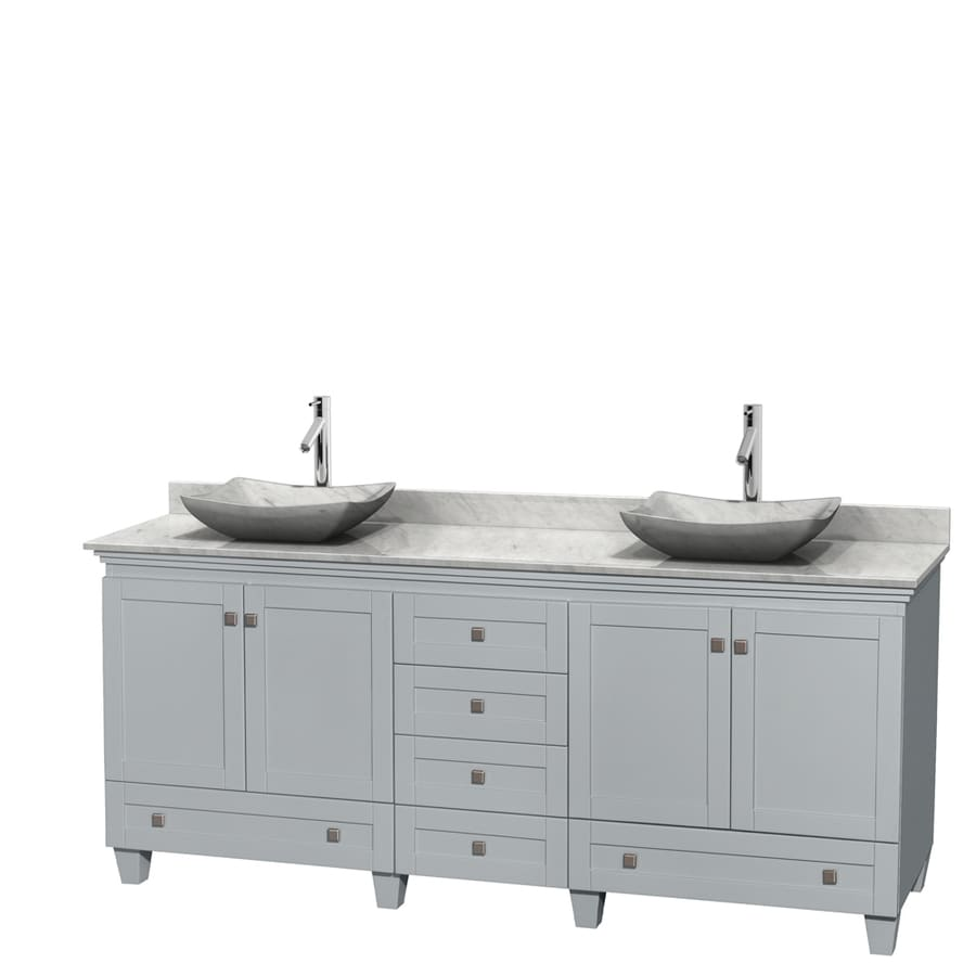 Wyndham Collection Acclaim Oyster Gray (Common: 80-in x 22-in) Vessel Double Sink Oak Bathroom Vanity with Natural Marble Top (Actual: 80-in x 22-in)