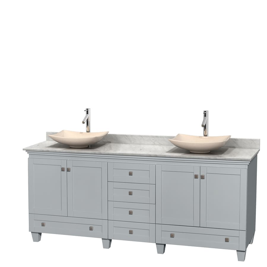 Wyndham Collection Acclaim Oyster Gray Double Vessel Sink Bathroom Vanity with Natural Marble Top (Common: 80-in x 22-in; Actual: 80-in x 22-in)