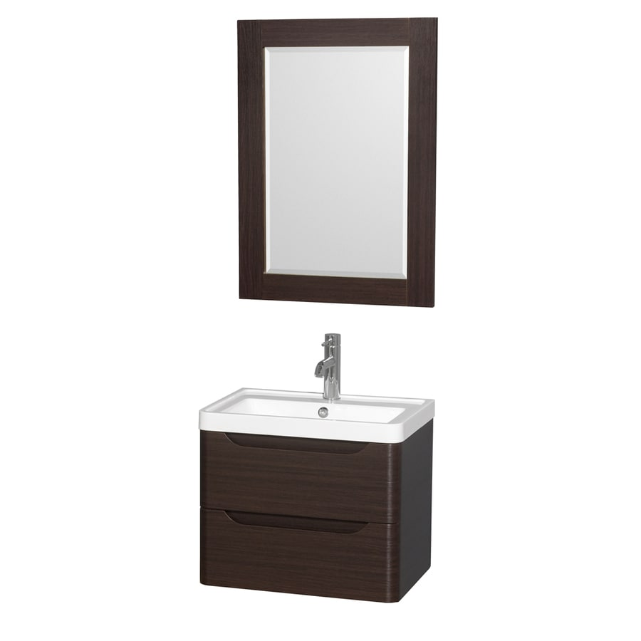 Wyndham Collection Murano Espresso (Common: 24-in x 17-in) Integral Single Sink Bathroom Vanity with Acrylic Top (Mirror Included) (Actual: 23.5-in x 16.5-in)
