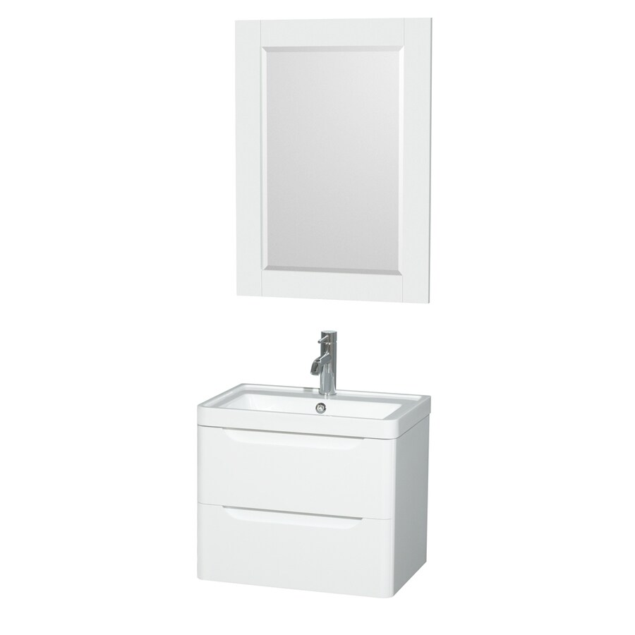 Wyndham Collection Murano Glossy White Integrated Single Sink Bathroom Vanity with Acrylic Top (Common: 24-in x 17-in; Actual: 23.5-in x 16.5-in)