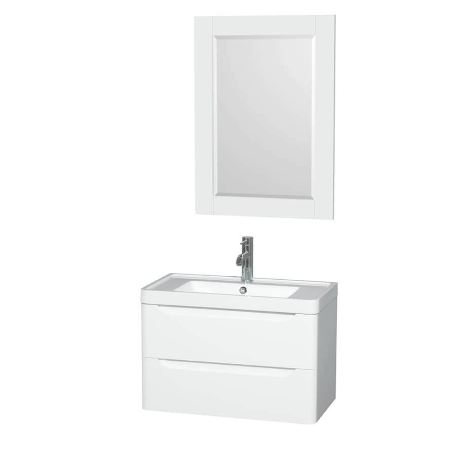 Wyndham Collection Murano Glossy White Integrated Single Sink Bathroom Vanity with Acrylic Top (Common: 30-in x 17-in; Actual: 30-in x 16.5-in)
