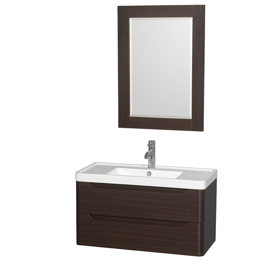 Wyndham Collection Murano Espresso 36-in Integral Single Sink Bathroom Vanity with Acrylic Top (Mirror Included)