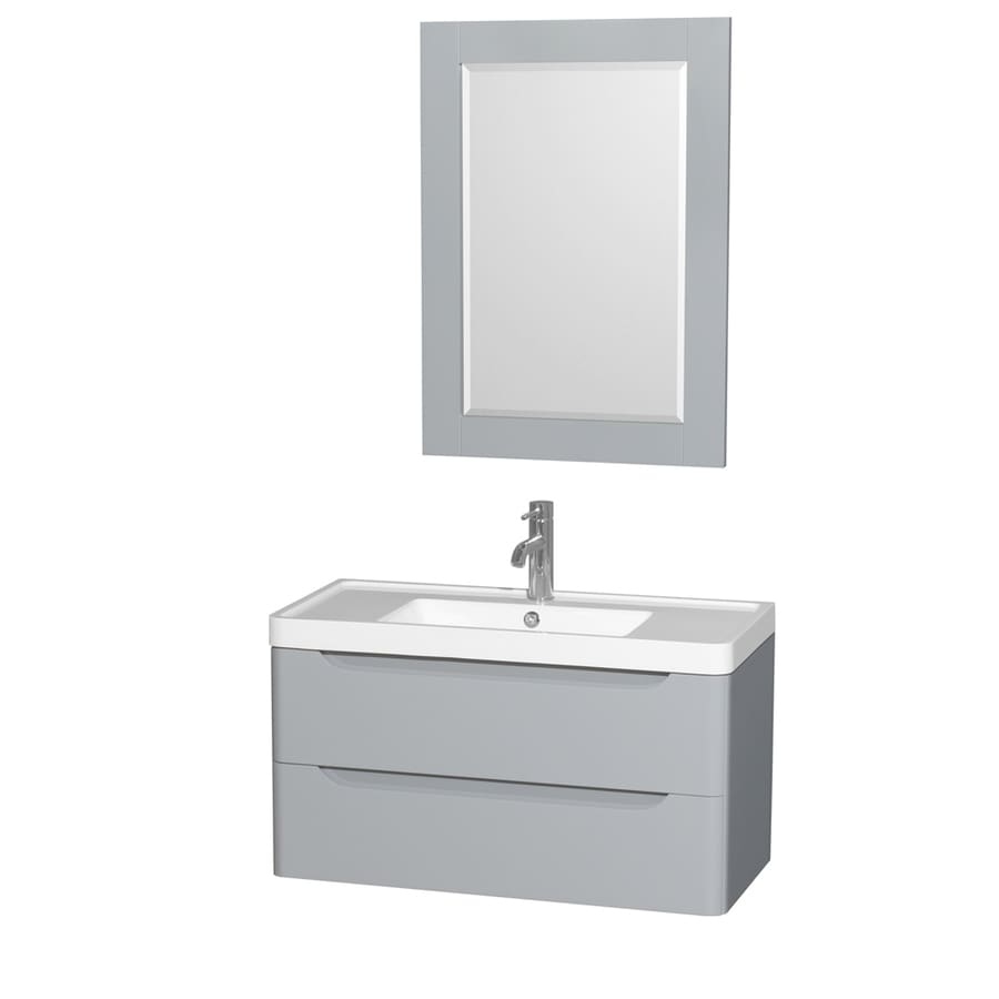 36 in integral single sink bathroom vanity with acrylic top mirror