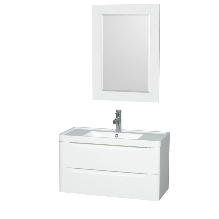Wyndham Collection Murano Glossy White 36-in Integral Single Sink Bathroom Vanity with Acrylic Top (Mirror Included)
