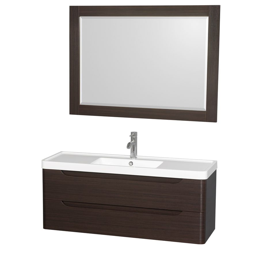 Wyndham Collection Murano Espresso Integrated Single Sink Bathroom Vanity with Acrylic Top (Common: 48-in x 17-in; Actual: 48-in x 16.5-in)