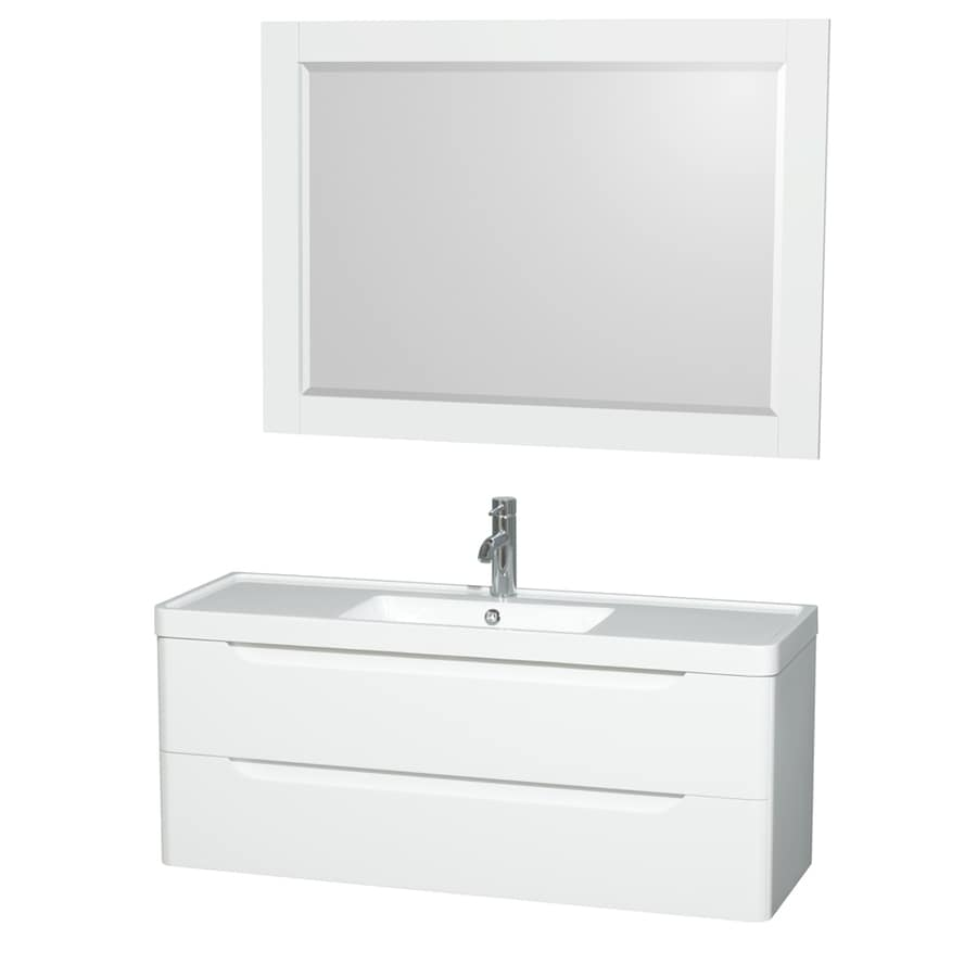 Wyndham Collection Murano Glossy White Integrated Single Sink Bathroom Vanity with Acrylic Top (Common: 48-in x 17-in; Actual: 48-in x 16.5-in)