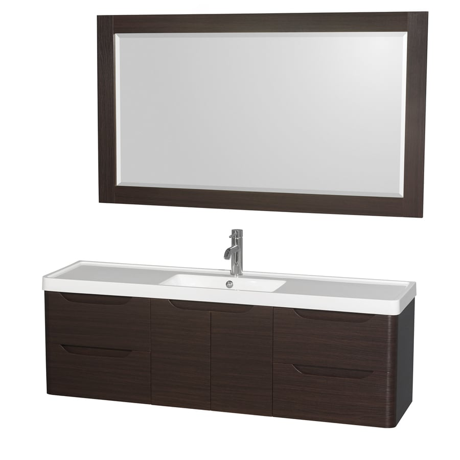 Wyndham Collection Murano Espresso 60-in Integral Single Sink Bathroom Vanity with Acrylic Top (Mirror Included)