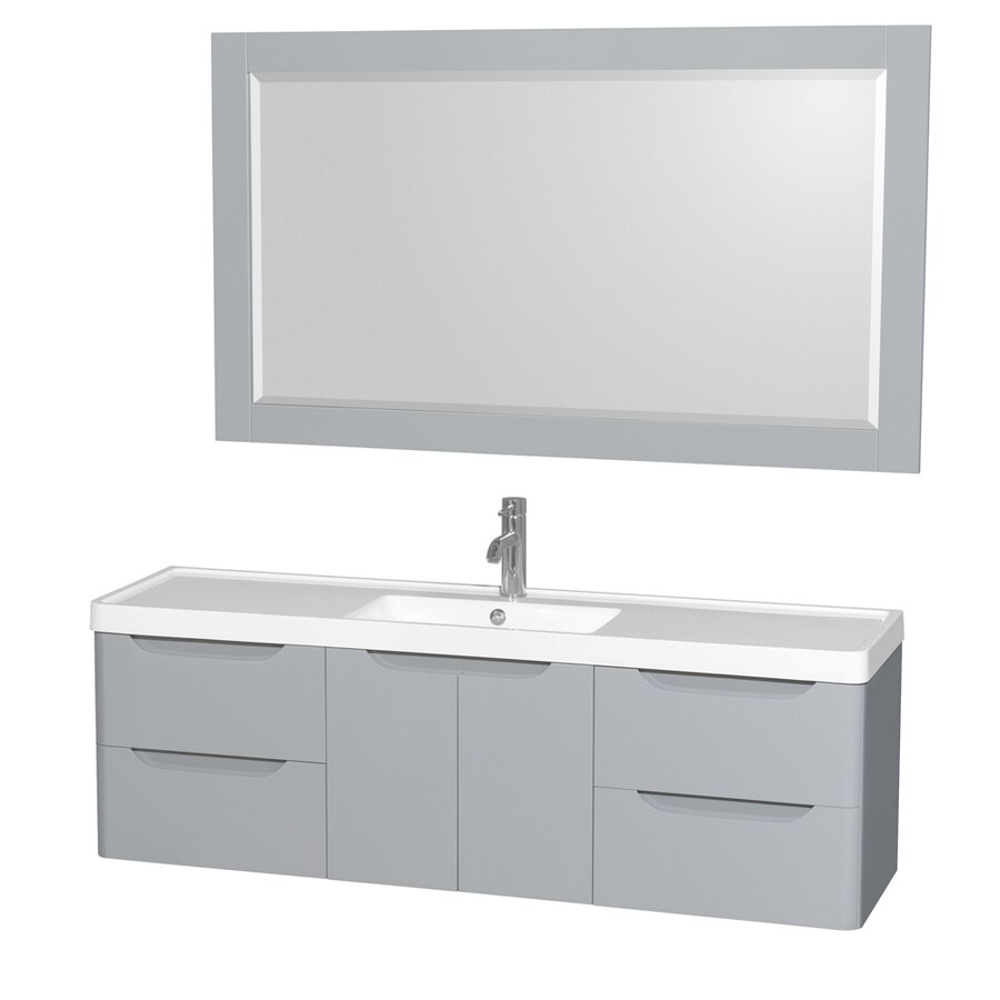 Wyndham Collection Murano Gray Integrated Single Sink Bathroom Vanity with Acrylic Top (Common: 60-in x 17-in; Actual: 60-in x 16.5-in)