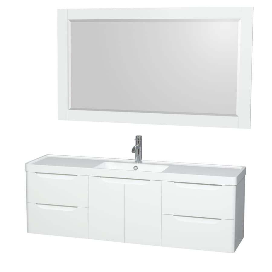 Wyndham Collection Murano Glossy White (Common: 60-in x 17-in) Integral Single Sink Bathroom Vanity with Acrylic Top (Mirror Included) (Actual: 60-in x 16.5-in)