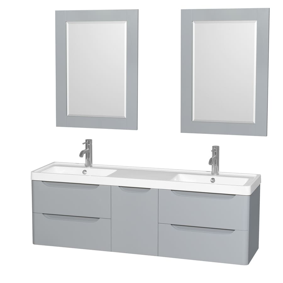 Wyndham Collection Murano Gray Integrated Double Sink Bathroom Vanity with Acrylic Top (Common: 60-in x 17-in; Actual: 60-in x 16.5-in)