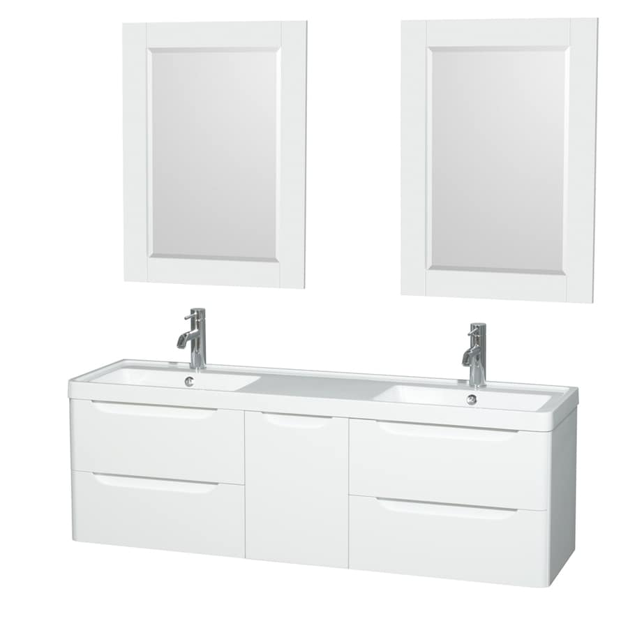 Wyndham Collection Murano Glossy White (Common: 60-in x 17-in) Integral Double Sink Bathroom Vanity with Acrylic Top (Mirror Included) (Actual: 60-in x 16.5-in)