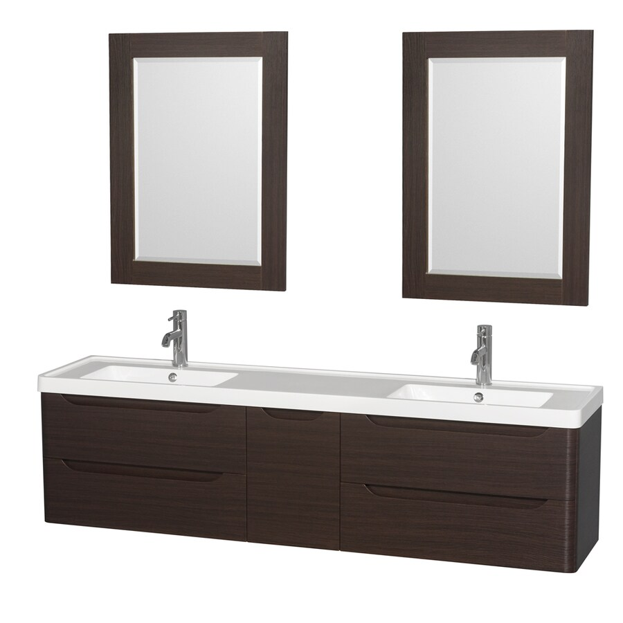 Wyndham Collection Murano Espresso 72-in Integral Double Sink Bathroom Vanity with Acrylic Top (Mirror Included)