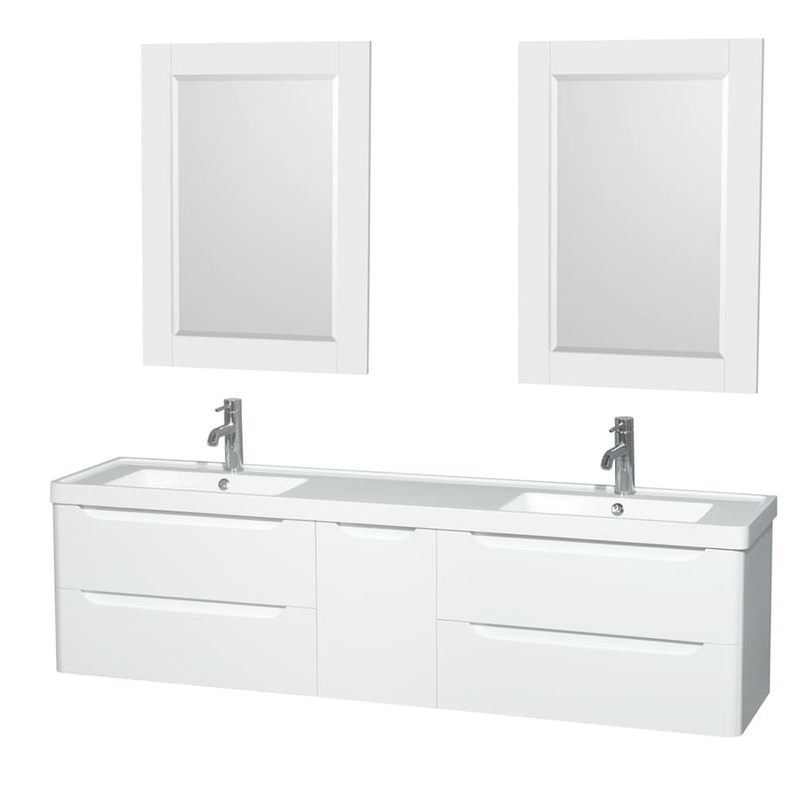 Wyndham Collection Murano Glossy White Integrated Double Sink Bathroom Vanity with Acrylic Top (Common: 72-in x 17-in; Actual: 72-in x 16.5-in)