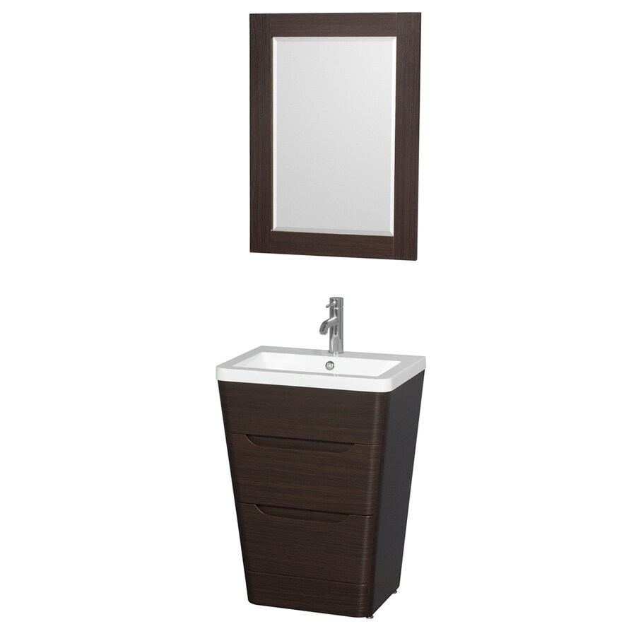 Wyndham Collection Caprice Espresso Integrated Single Sink Bathroom Vanity with Acrylic Top (Common: 24-in x 18-in; Actual: 24-in x 18-in)