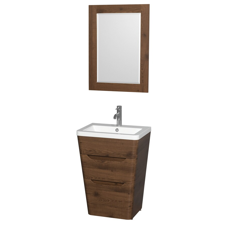 Wyndham Collection Caprice Walnut Integrated Single Sink Bathroom Vanity with Acrylic Top (Common: 24-in x 18-in; Actual: 24-in x 18-in)