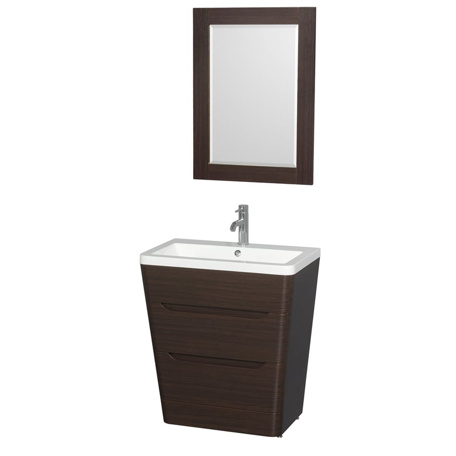 Wyndham Collection Caprice Espresso 30-in Integral Single Sink Bathroom Vanity with Acrylic Top (Mirror Included)