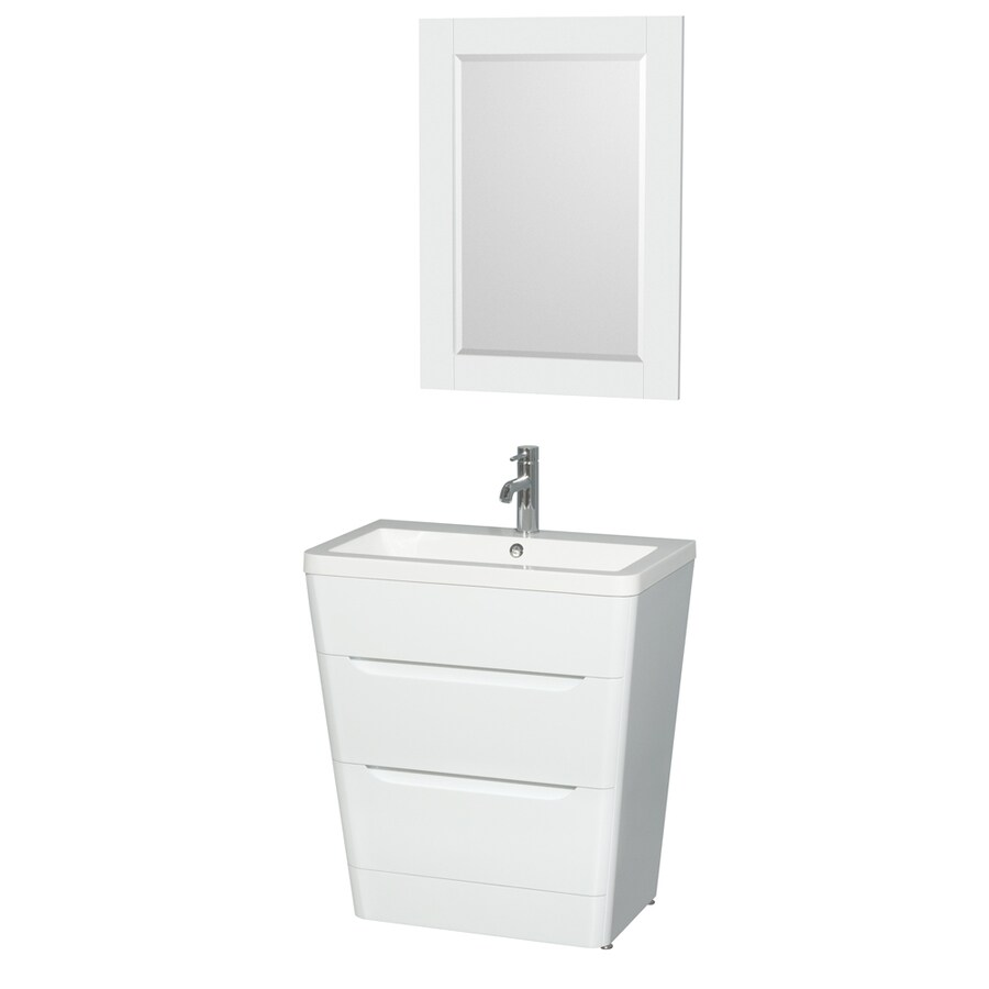 Wyndham Collection Caprice Glossy White Integrated Single Sink Bathroom Vanity with Acrylic Top (Common: 30-in x 19-in; Actual: 30-in x 19-in)