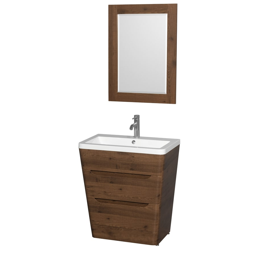 Wyndham Collection Caprice Walnut (Common: 30-in x 19-in) Integral Single Sink Bathroom Vanity with Acrylic Top (Mirror Included) (Actual: 30-in x 19-in)