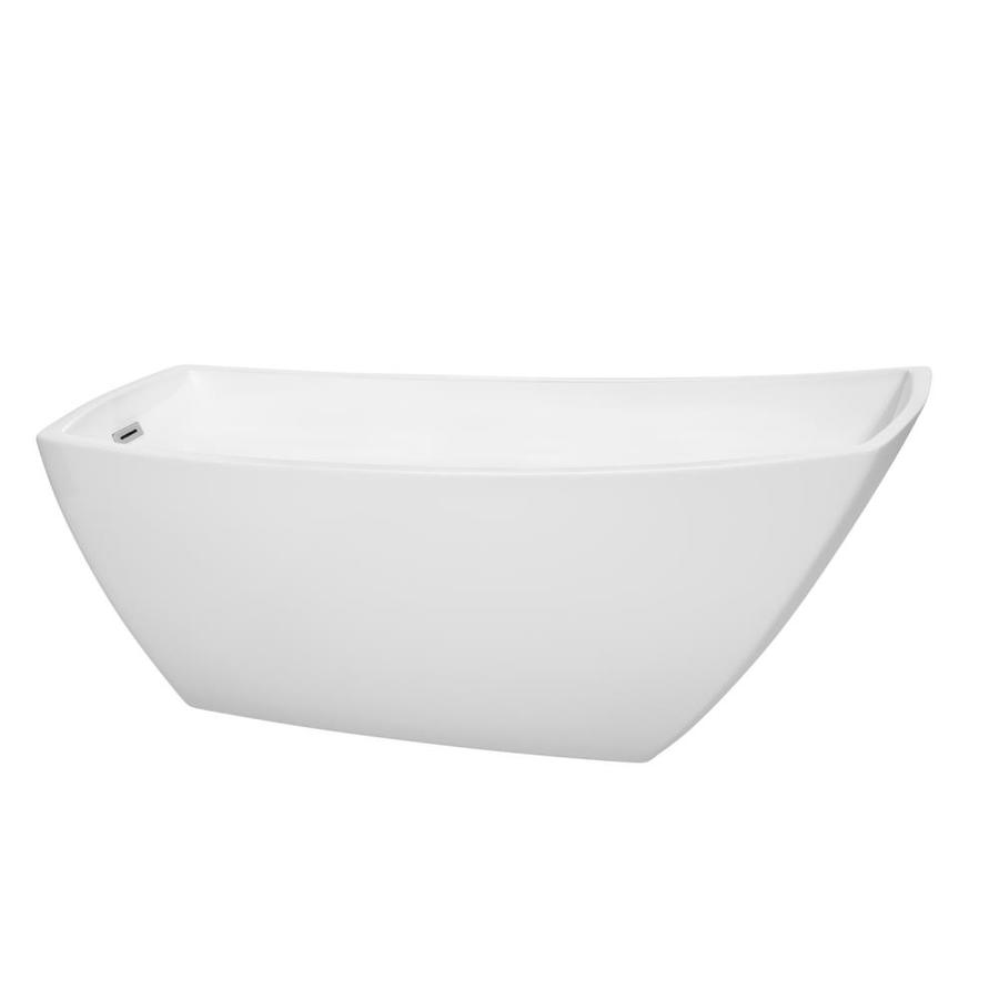 Wyndham Collection Antigua 67-in White Acrylic Freestanding Bathtub with Left-Hand Drain