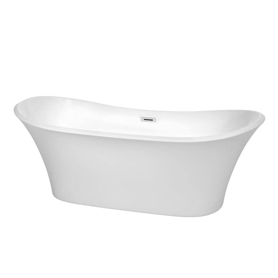 Wyndham Collection Bolera White Acrylic Oval Freestanding Bathtub with Center Drain (Common: 32-in x 71-in; Actual: 26.5-in x 31.5-in x 71-in)
