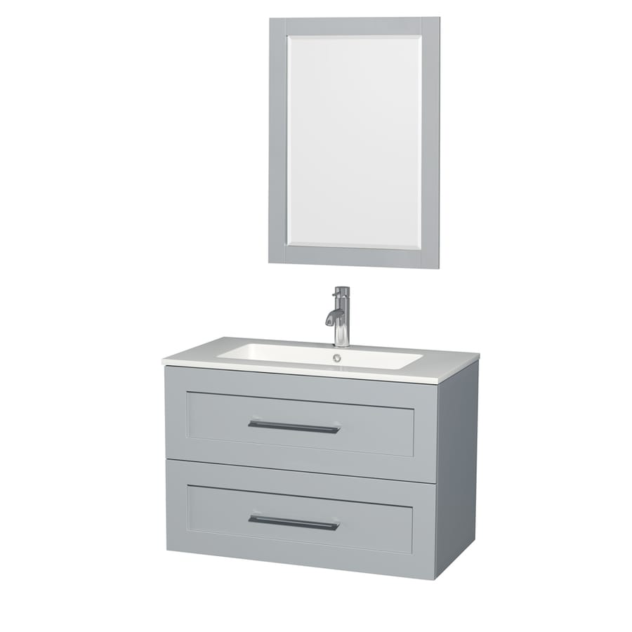 Wyndham Collection Olivia Dove Gray Integrated Single Sink Bathroom Vanity with Acrylic Top (Common: 36-in x 19-in; Actual: 35.5-in x 19-in)