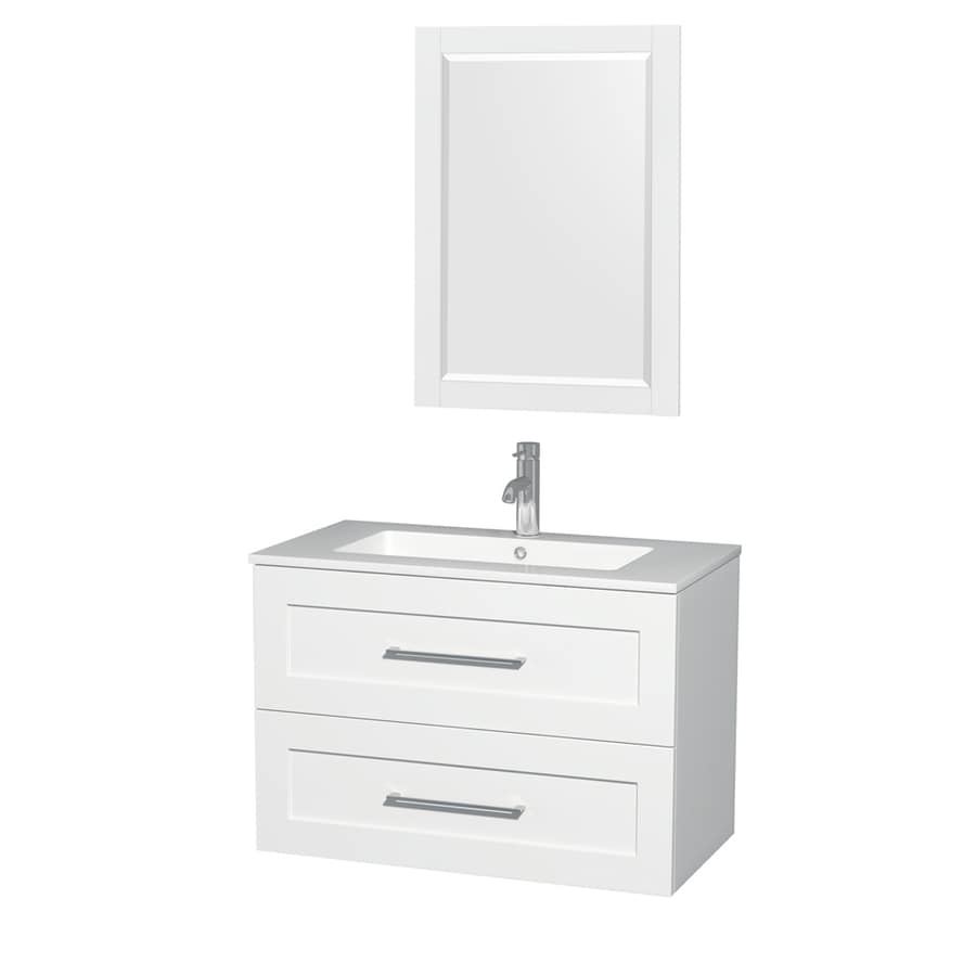 Wyndham Collection Olivia Glossy White Integrated Single Sink Bathroom Vanity with Acrylic Top (Common: 36-in x 19-in; Actual: 35.5-in x 19-in)