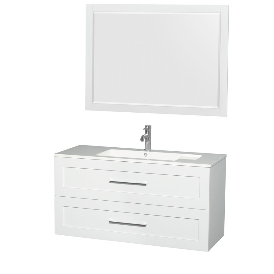 Wyndham Collection Olivia Glossy White Integrated Single Sink Bathroom Vanity with Acrylic Top (Common: 48-in x 19-in; Actual: 47.25-in x 19-in)