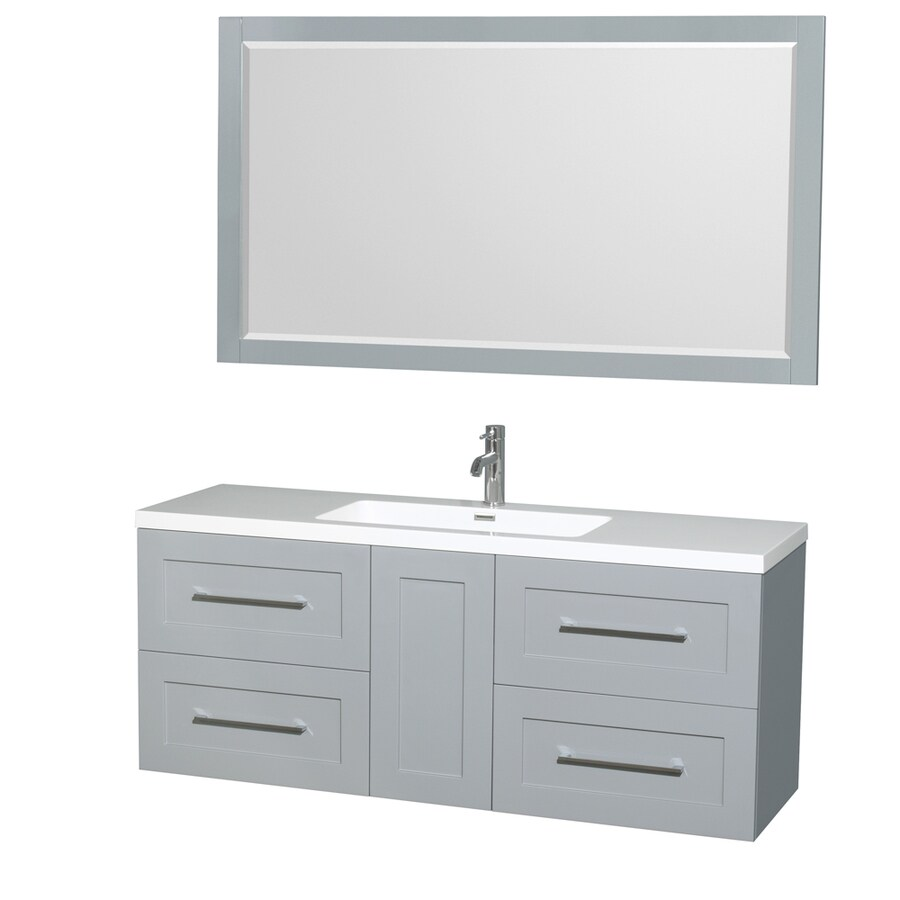 Shop Wyndham Collection Olivia Dove Gray Integrated Single Sink Bathroom Vanity With Acrylic Top