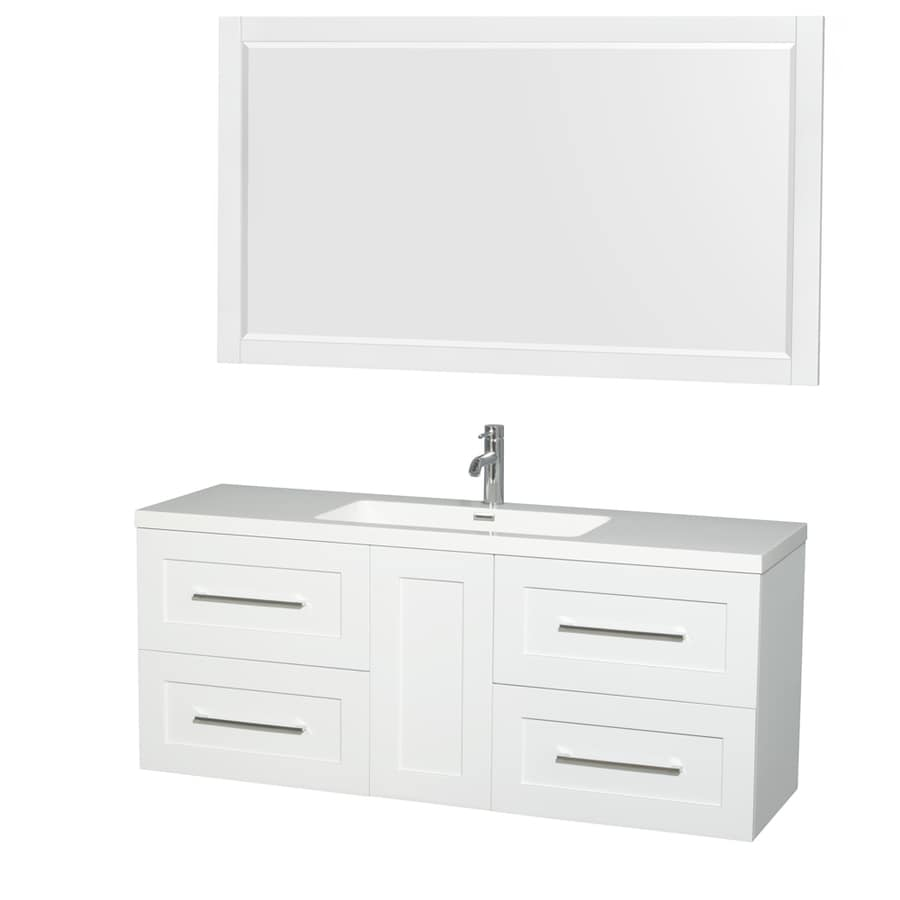 Wyndham Collection Olivia Glossy White Integrated Single Sink Bathroom Vanity with Acrylic Top (Common: 60-in x 19-in; Actual: 60-in x 19-in)