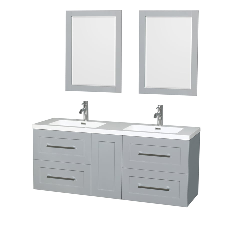 Wyndham Collection Olivia Dove Gray Integrated Double Sink Bathroom Vanity with Acrylic Top (Common: 60-in x 19-in; Actual: 60-in x 19-in)