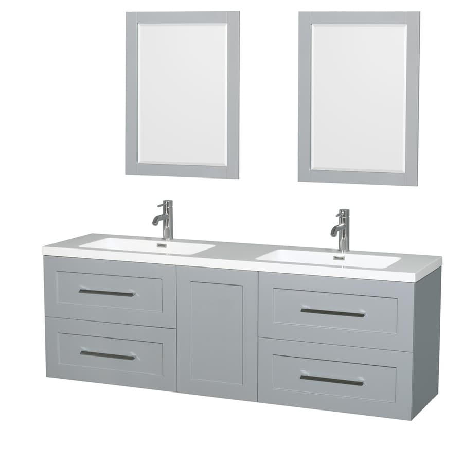 Shop Wyndham Collection Olivia Dove Gray 72 In Integral Double Sink Bathroom