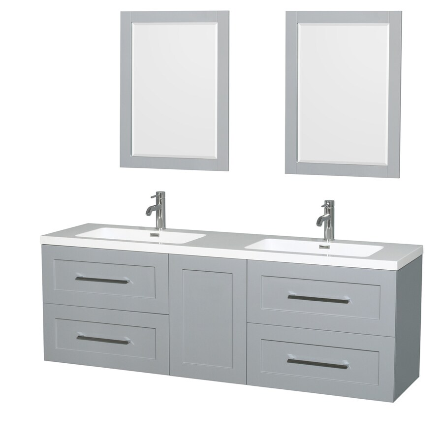 Wyndham Collection Olivia Dove Gray Integrated Double Sink Bathroom Vanity with Acrylic Top (Common: 72-in x 19-in; Actual: 72-in x 19-in)