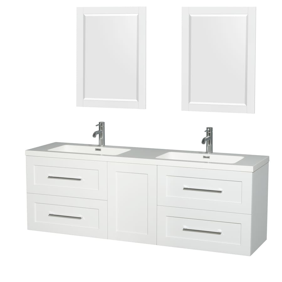 Wyndham Collection Olivia Glossy White Integrated Double Sink Bathroom Vanity with Acrylic Top (Common: 72-in x 19-in; Actual: 72-in x 19-in)