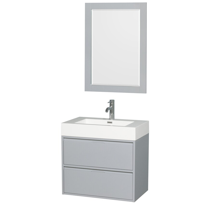 Wyndham Collection Daniella Dove Gray Integrated Single Sink Bathroom Vanity with Acrylic Top (Common: 30-in x 18-in; Actual: 29.25-in x 18-in)