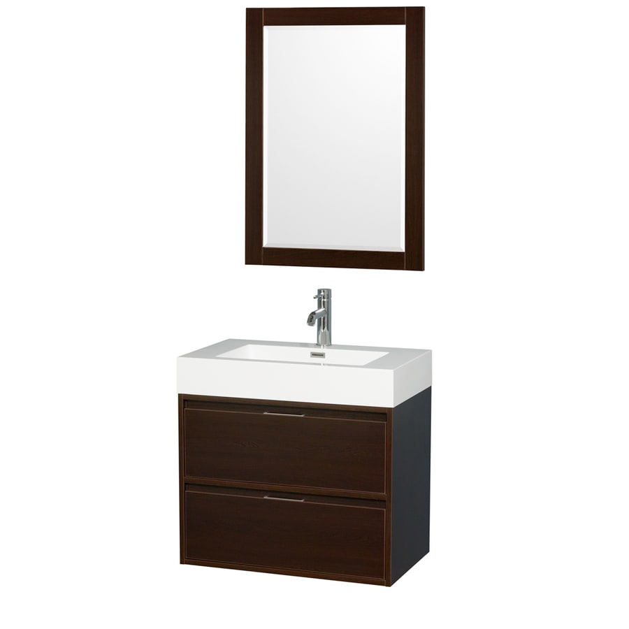 shop wyndham collection daniella espresso single sink vanity with white acrylic top common 30