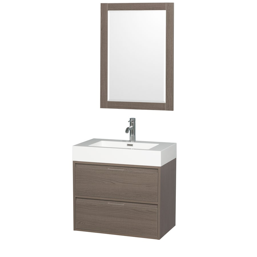Wyndham Collection Daniella Gray Oak Integrated Single Sink Bathroom Vanity with Acrylic Top (Common: 30-in x 18-in; Actual: 29.25-in x 18-in)